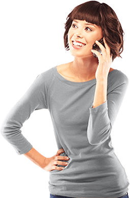 Woman using Cox phone